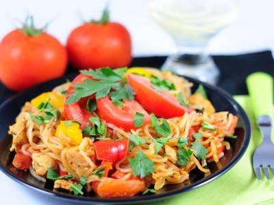Konjakové špagety s krůtími nudličkami