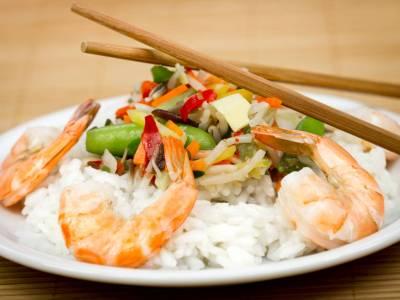 Grilovanékrevety se zeleninou a rýží
