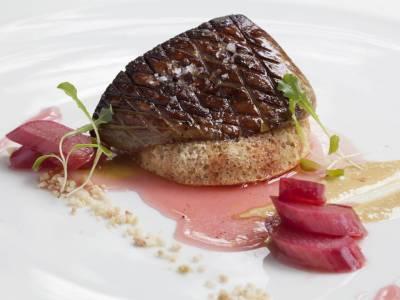 Foie gras s rebarorovým krémem